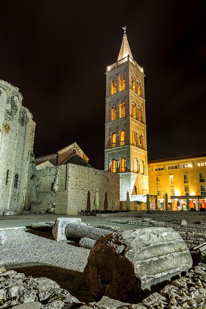 Roman ruins and the Tower of St Anastasia's Cathedral at night, Zadar, Croatia