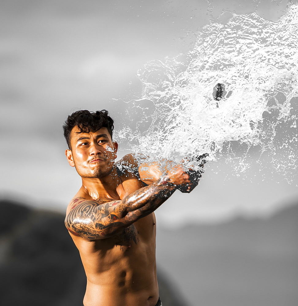 Asian swordsman fighting water, New Zealand