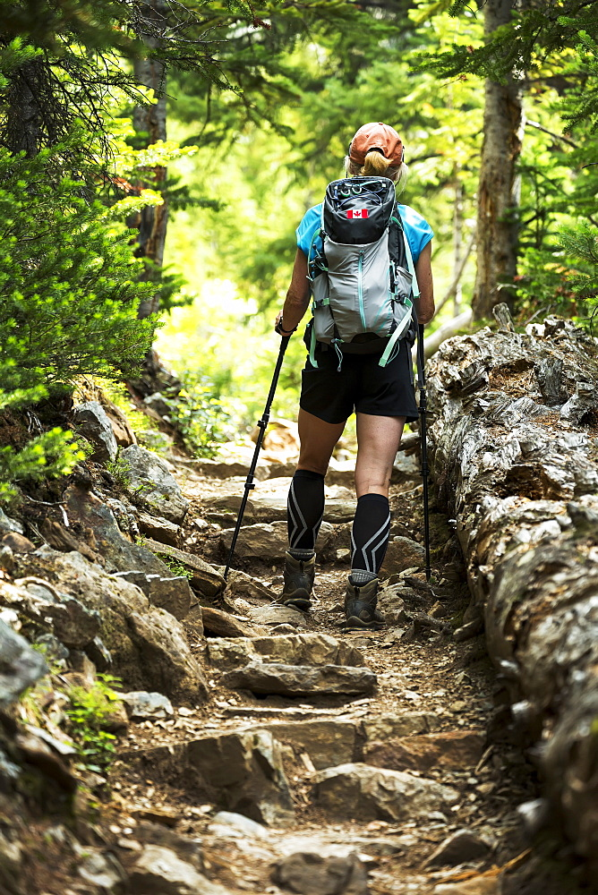 Female hiker assending up a rocky pathway in the forest, British Columbia, Canada
