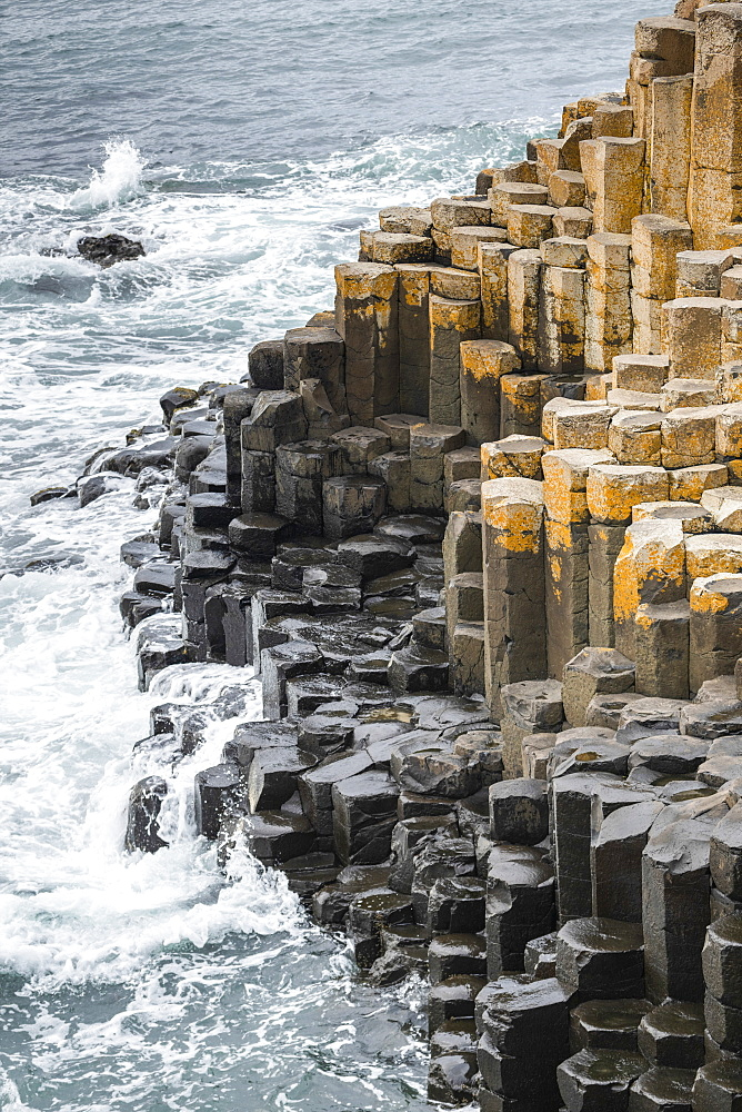 The Giant's Causeway is an area of about 40,000 interlocking basalt columns, the result of an ancient volcanic fissure eruption, Northern Ireland, Bushmills, Ireland