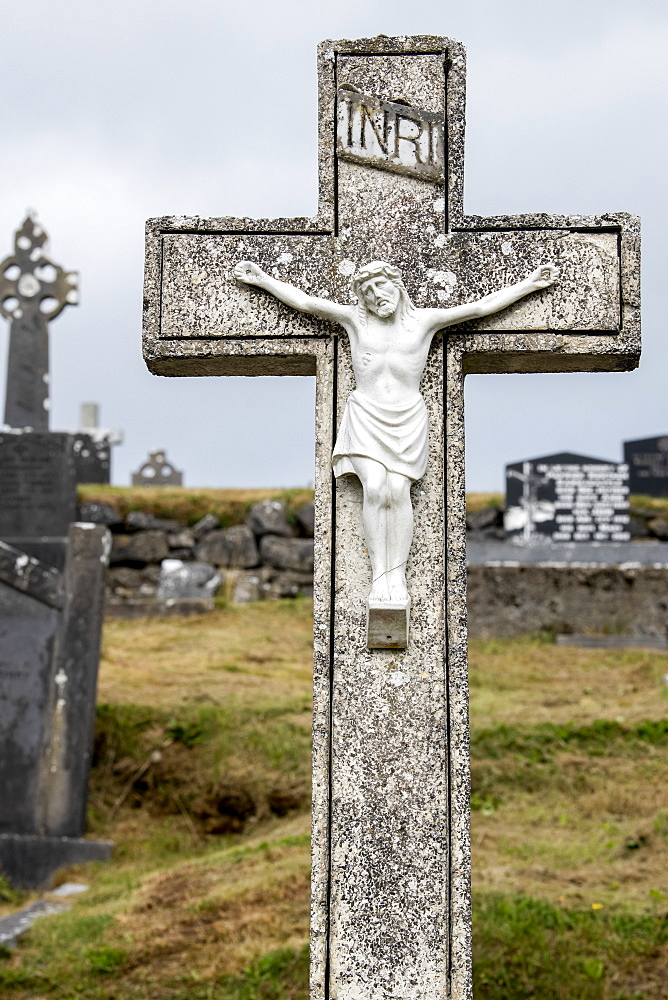 Stone crucifix grave marker in a cemetery, Kiltimagh, County Mayo, Ireland