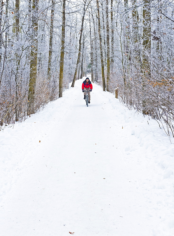 Mountain bike rider on a snowy winter trail ride, St. Albert, Alberta, Canada