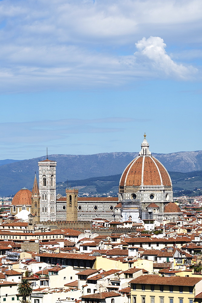 Florence cityscape showing Florence Cathedral, Giotto's Campanile and Brunelleschi's Dome, Florence, Tuscany, Italy