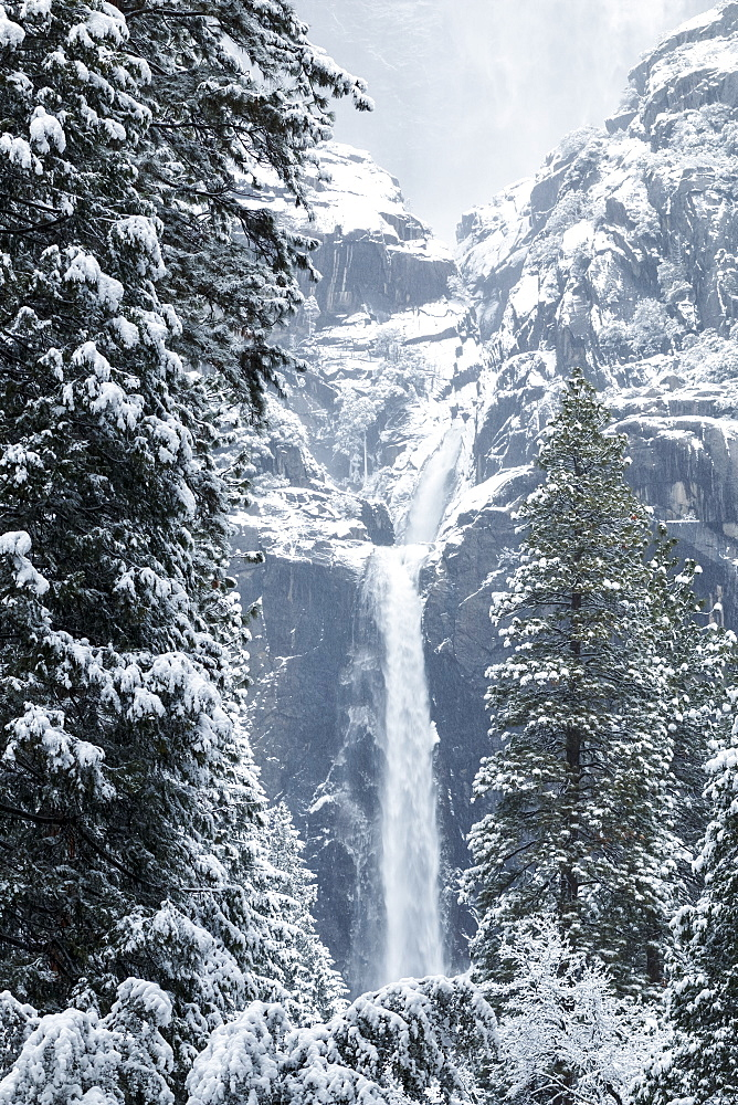 Yosemite Falls with snow in winter, Yosemite Valley, Yosemite National Park, California, United States of America