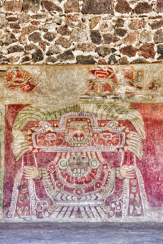 Wall mural of the Jade Goddess (or Thaloc), Palace of Tetitla, Teotihuacan Archeological Zone, State of Mexico, Mexico