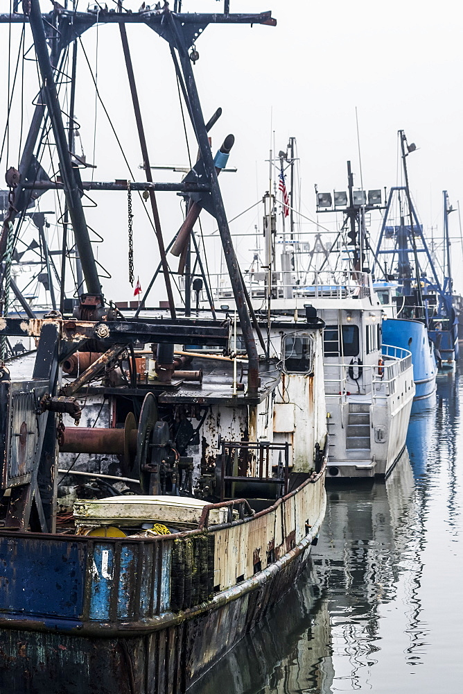 Commercial fishing boats rest at the dock, Astoria, Oregon, United States of America