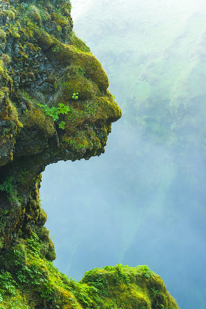 Shape of head in natural rocks covered in green moss beside Skogafoss waterfall, Iceland