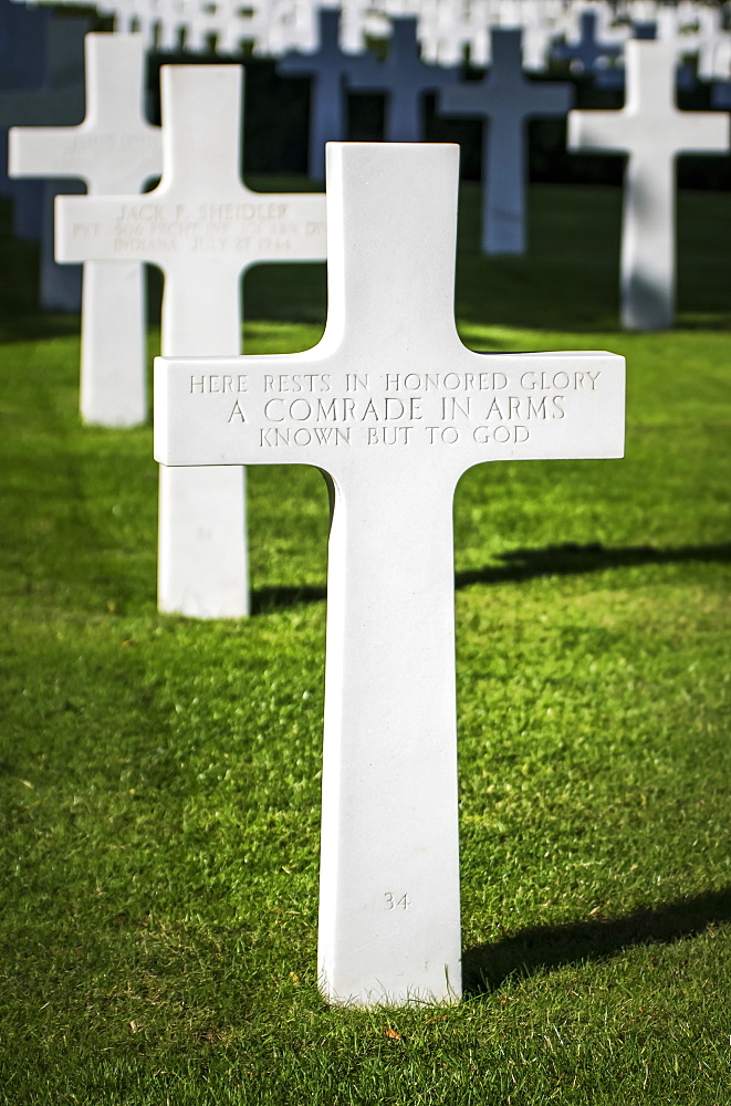 Comrade in Arms grave at the Cambridge American Cemetery and Memorial, Cambridge, Cambridgeshire, England