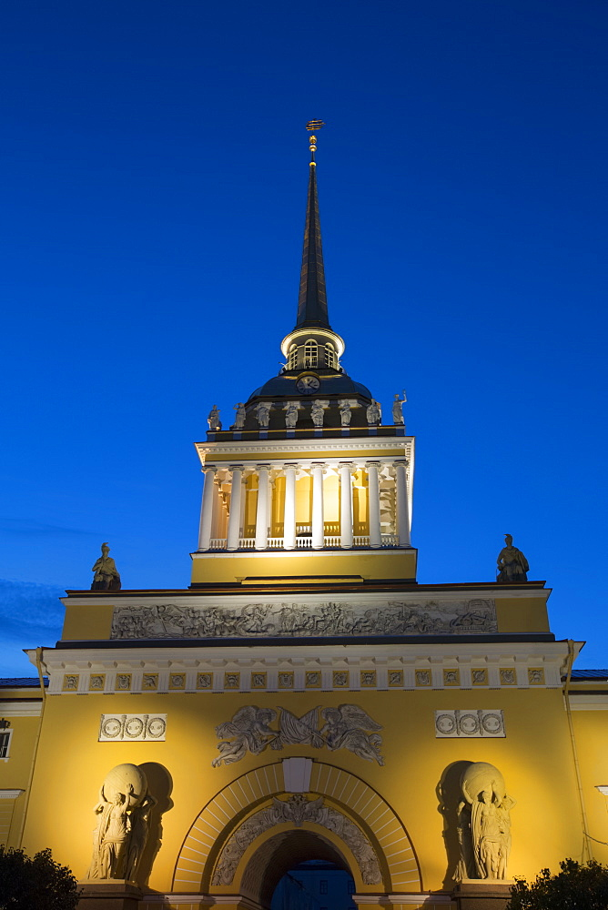 The Admiralty Building illuminated with light at dusk, Saint Petersburg, Russia