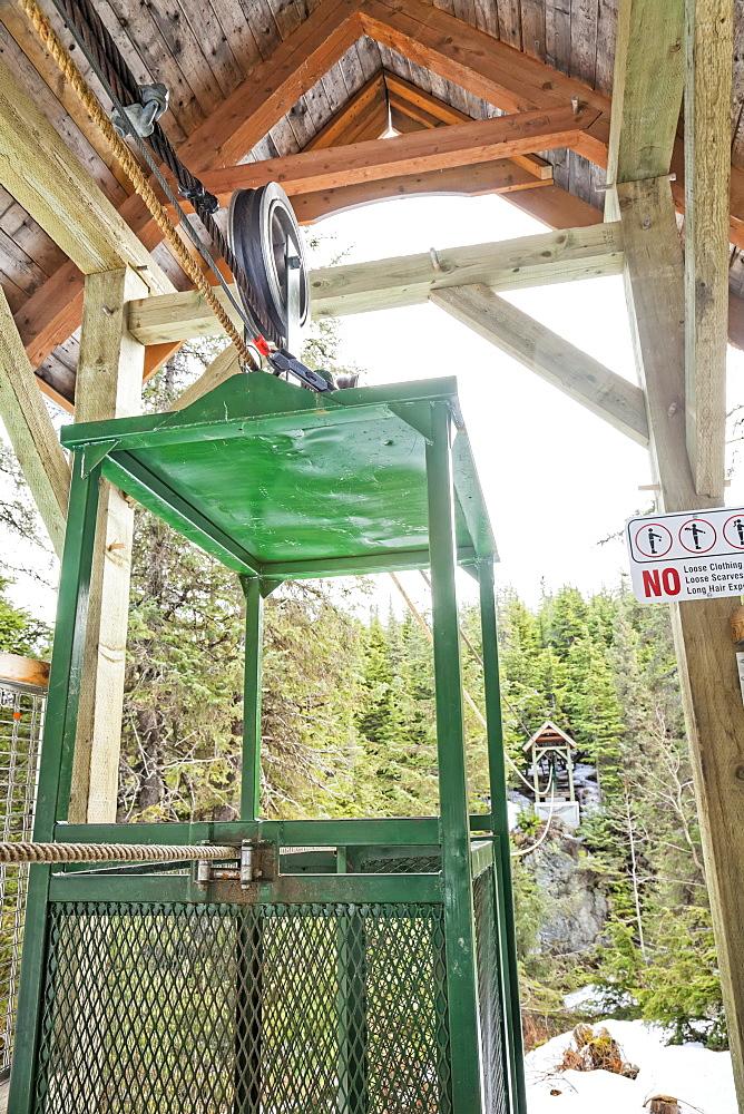 A hand tram over Winner Creek near Girdwood, Kenai National Forest, South-central Alaska, Girdwood, Alaska, United States of America