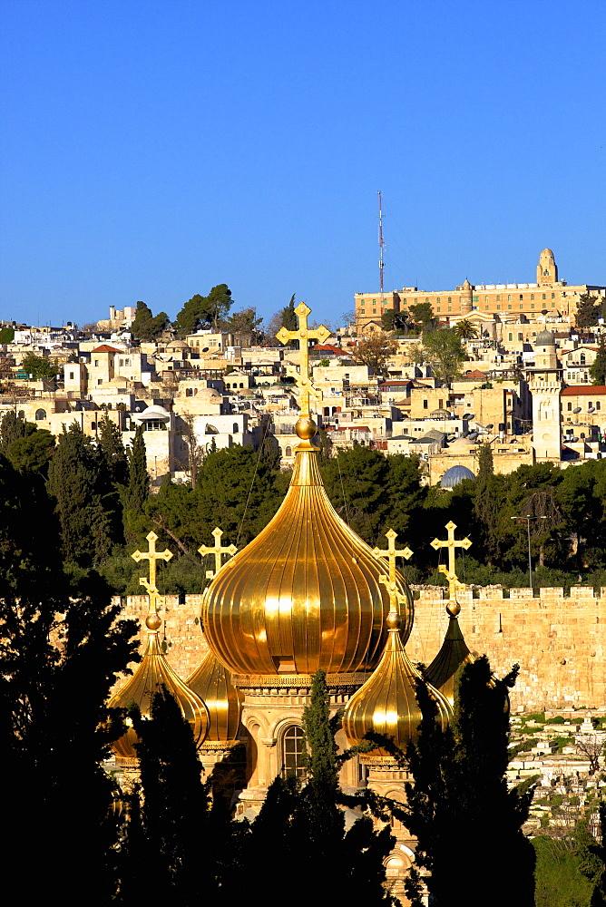 View of Jerusalem from The Mount of Olives, Jerusalem, Israel, Middle East