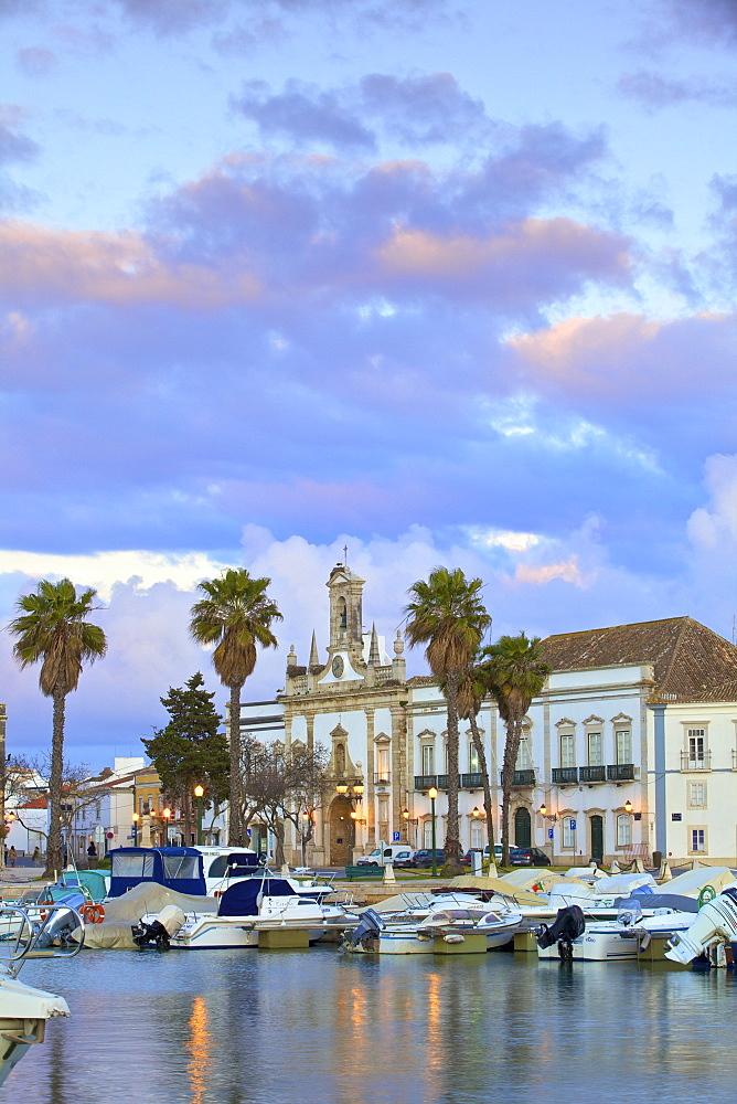 View of Arco da Vila across The Harbour, Faro, Eastern Algarve, Algarve, Portugal, Europe - 1126-1542
