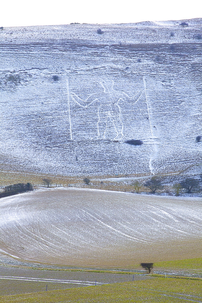 Snow covered Long Man of Wilmington, Wilmington, South Downs, East Sussex, England, United Kingdom, Europe - 1126-1623