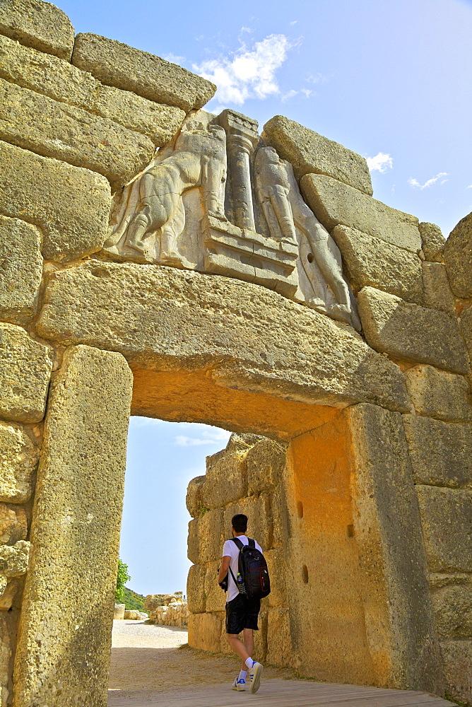The Lion Gate, Mycenae, UNESCO World Heritage Site, Argolis, The Peloponnese, Greece, Europe