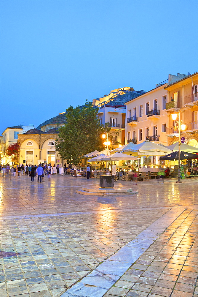 Syntagma Square at dusk, Old Town of Nafplio, Argolis, The Peloponnese, Greece, Europe
