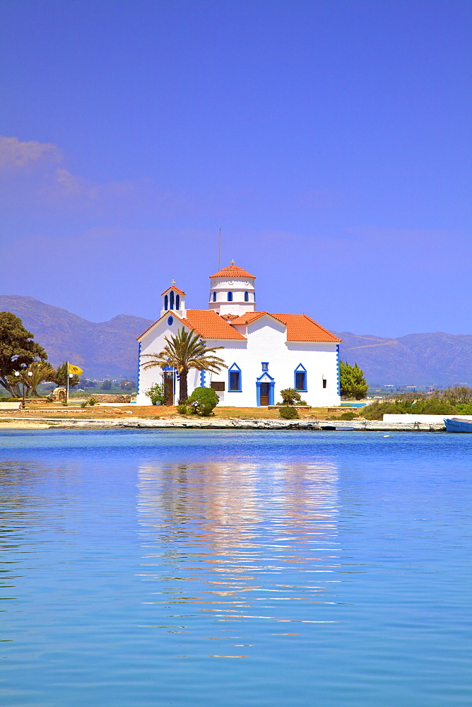 The Harbour and Agios Spyridon Church, Elafonisos Island, Laconia, The Peloponnese, Greece, Europe - 1126-1681