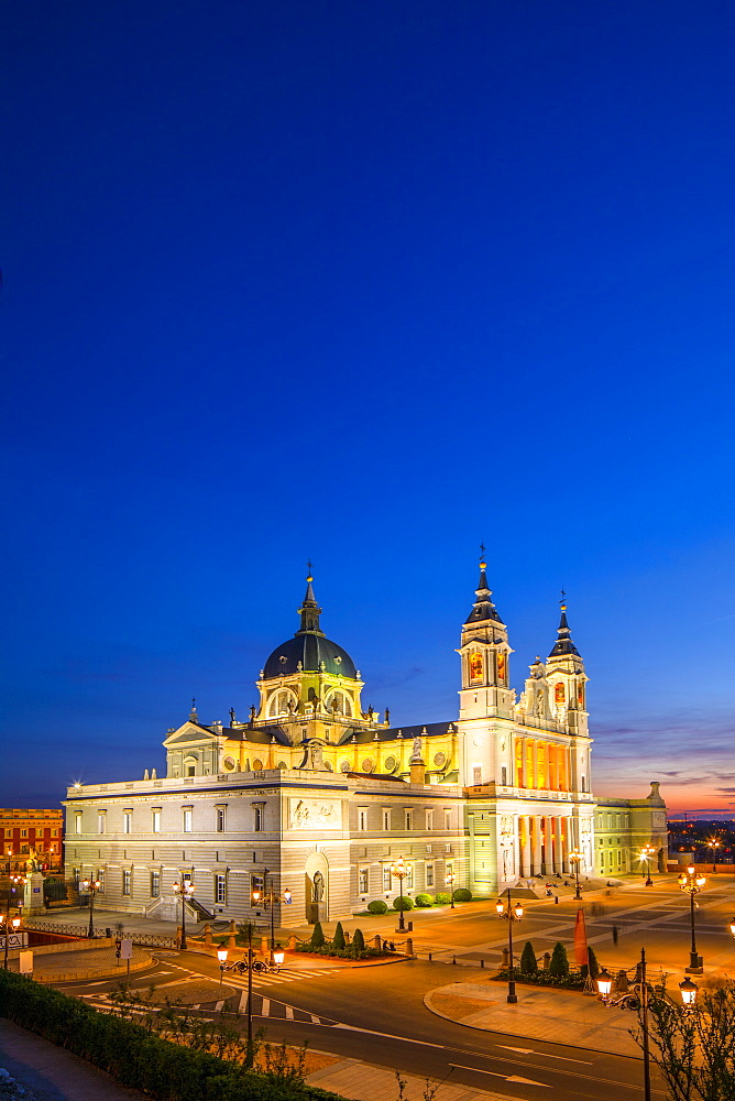 Exterior of Almudena Cathedral at Dusk, Madrid, Spain, South West Europe, Madrid, Spain, South West Europe