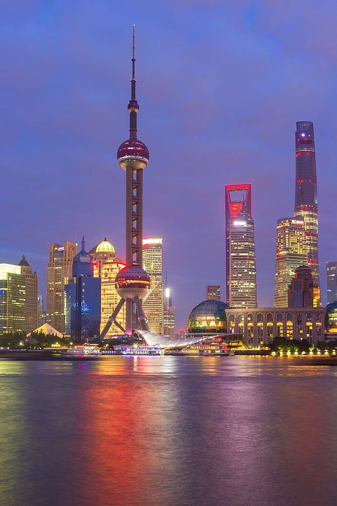Pudong financial district skyline at night, Shanghai, China, Asia