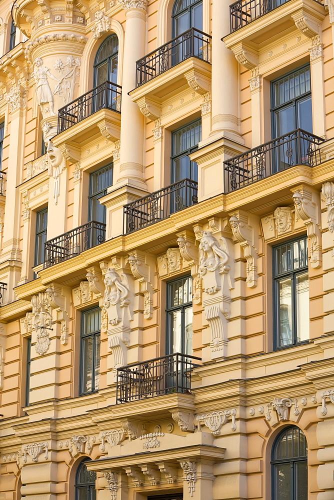 Art Nouveau style architecture (Jugendstil) designed by Mikhail Eisenstein, Riga, Latvia, Europe