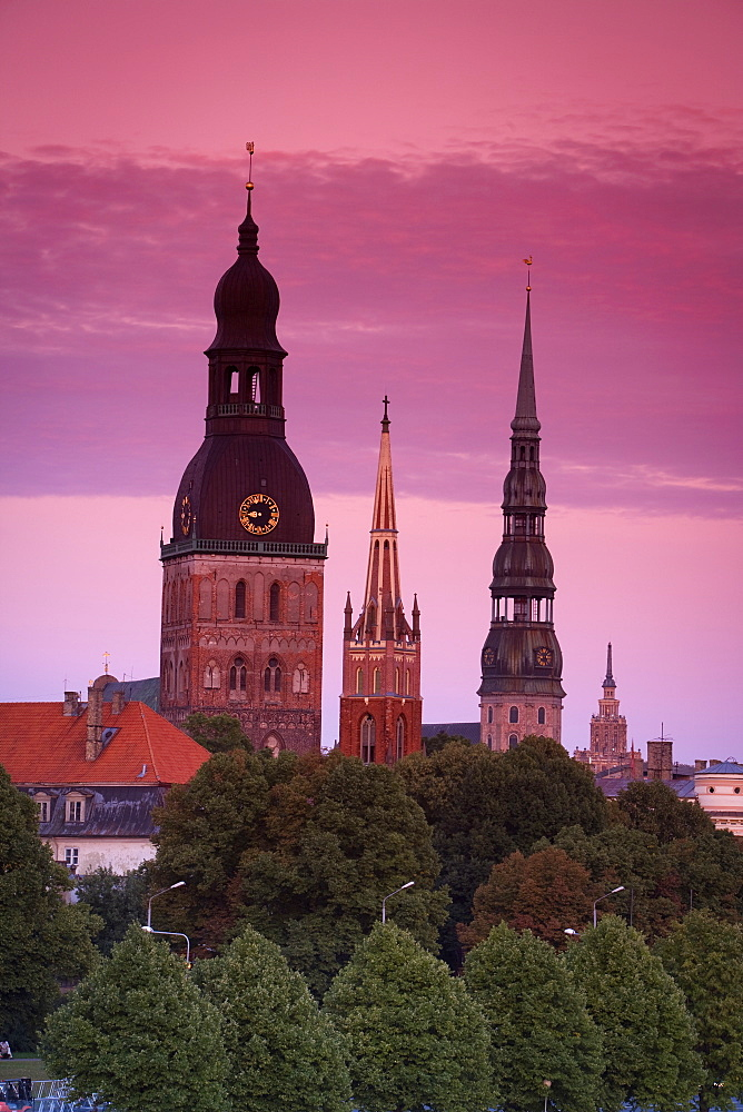 Dom Cathedral, St. Peter's Church, St. Savior's Anglican Church and The Academy of Sciences Building, Riga, Latvia,Europe