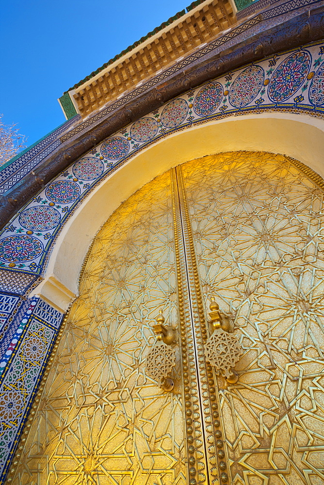 Royal Palace door, Fes, Morocco, North Africa, Africa - 1158-25