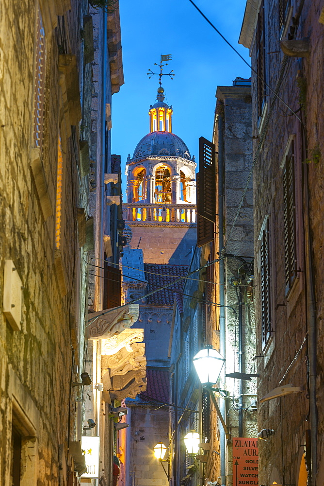 St. Marko Bell Tower illuminated at dusk, Stari Grad (Old Town), Korcula Town, Korcula, Dalmatia, Croatia, Europe