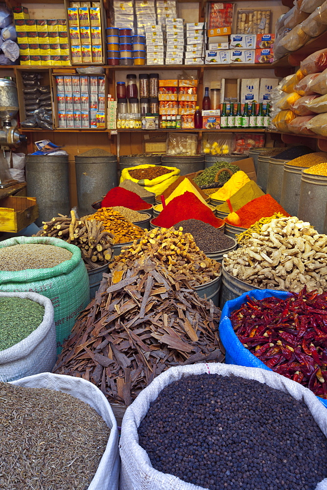 Spice store, Medina, Fes, Morocco, North Africa, Africa