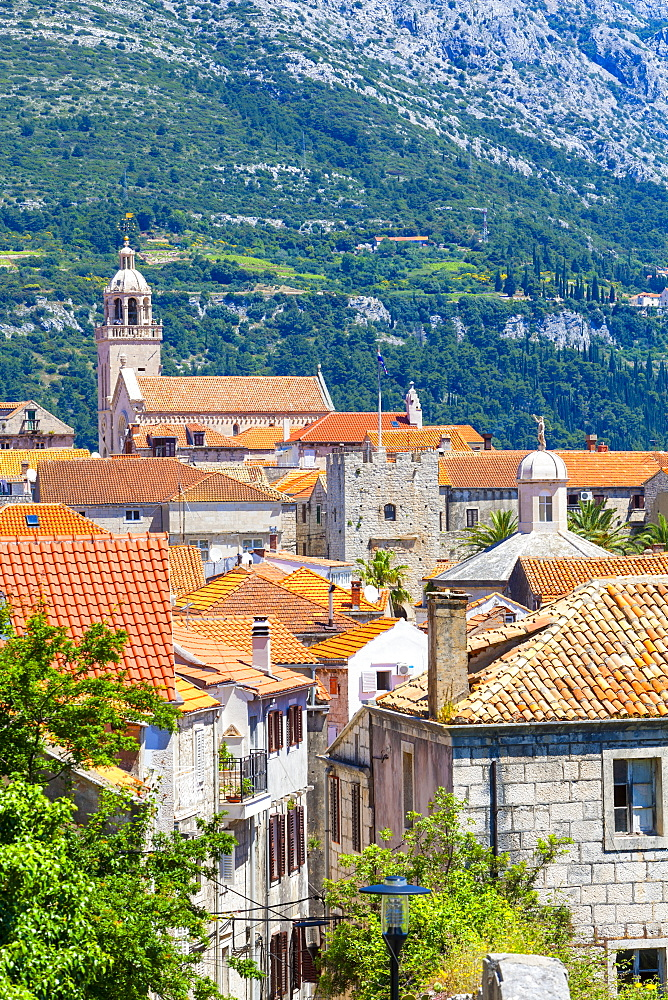 Elevated view over picturesque Korcula Town, Korcula, Dalmatia, Croatia, Europe