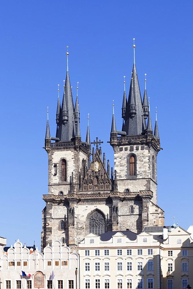 Tyn Cathedral (Church of Our Lady Before Tyn), Old Town Square (Staromestske namesti), Prague, Bohemia, Czech Republic, Europe