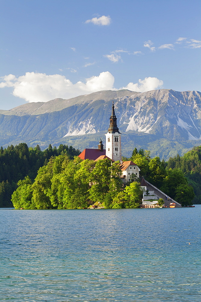 Blejski Otok Island with Santa Maria Church, Lake Bled, Gorenjska, Julian Alps, Slovenia, Europe