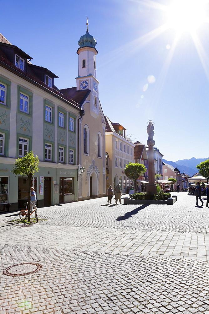 Untermarkt marketplace, Maria Hilf Church,, Murnau am Staffelsee, Blaues Land, Upper Bavaria, Bavaria, Germany, Europe
