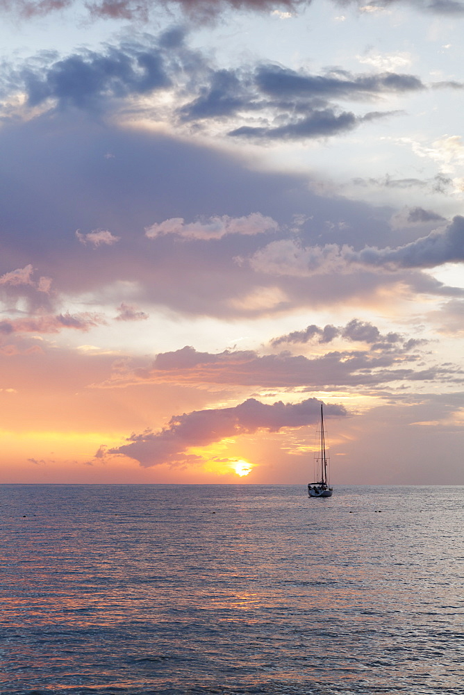 Sailing boat at sunset, Playa de Los Cristianos, Los Cristianos, Tenerife, Canary Islands, Spain, Europe