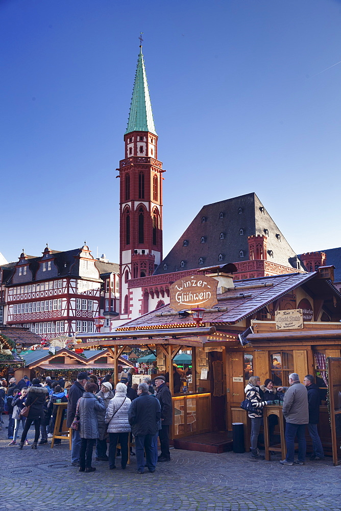 Christmas fair at Roemer, Roemerberg square, Nikolaikirche church, Frankfurt, Hesse, Germany, Europe