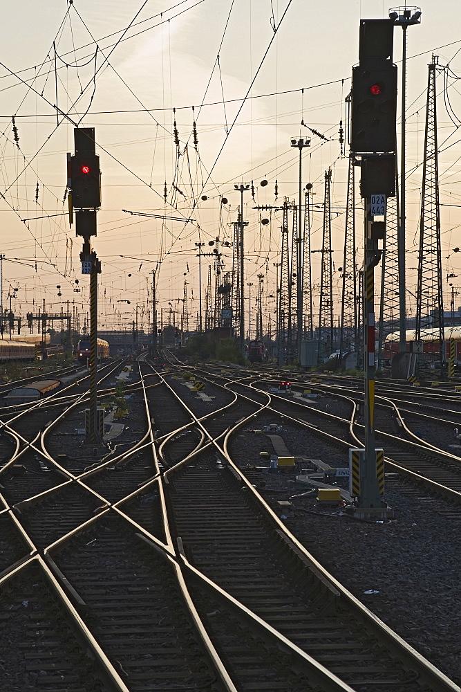 Tracks at main station, Frankfurt, Hesse, Germany, Europe