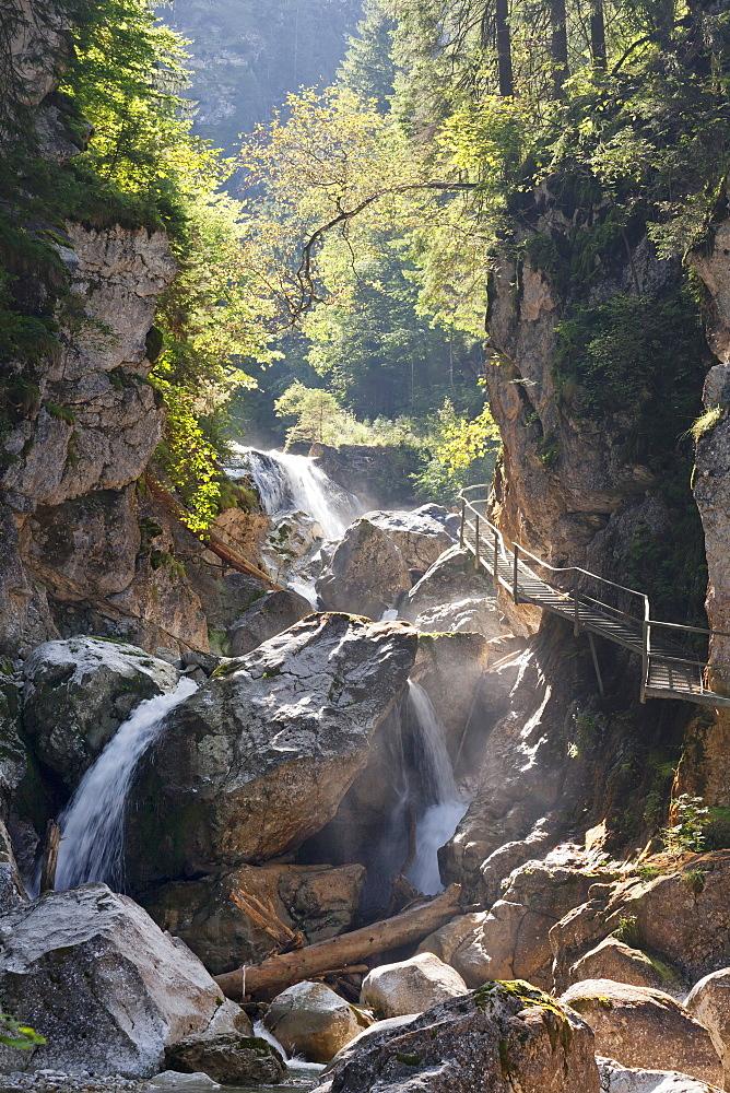 Waterfall in Poellat gorge, Schwangau, Allgaeu, Schwaben, Bavaria, Germany