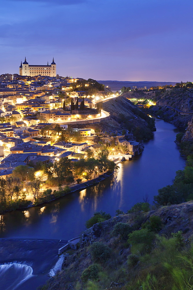 View over Tajo River at Alcazar, UNESCO World Heritage Site, Toledo, Castilla-La-Mancha, Spain