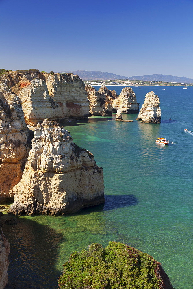 Rocky coast at Ponta da Piedade Cape, near Lagos, Algarve, Portugal, Europe