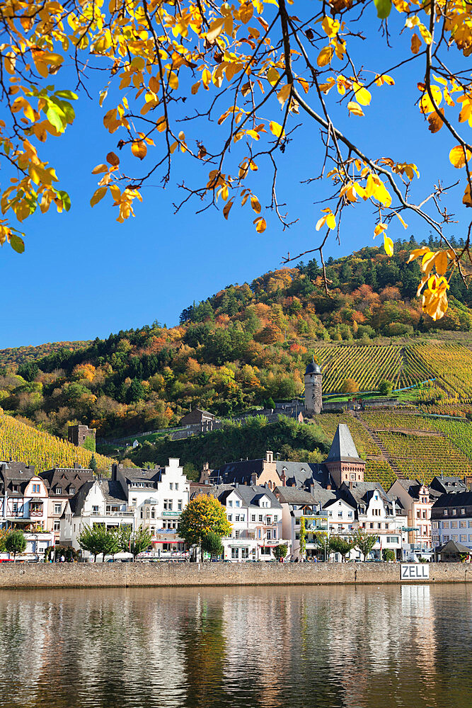 View over Moselle River to Zell and Runder Turm Tower, Rhineland-Palatinate, Germany, Europe - 1160-3784
