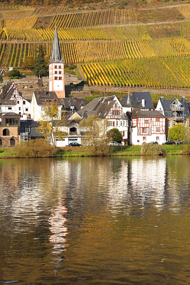 View of Merl district, Moselle Valley, Zell an der Mosel, Rhineland-Palatinate, Germany - 1160-3809