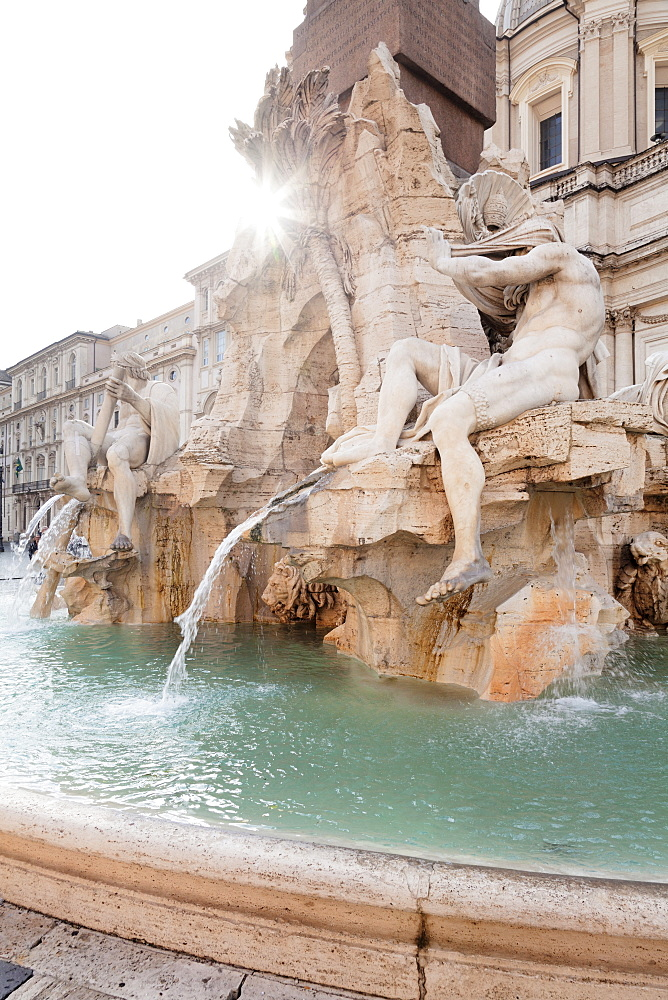 Fontana dei Quattro Fiumi Fountain, Architect Bernini, Piazza Navona Square, Rome, Lazio, Italy, Europe - 1160-3883