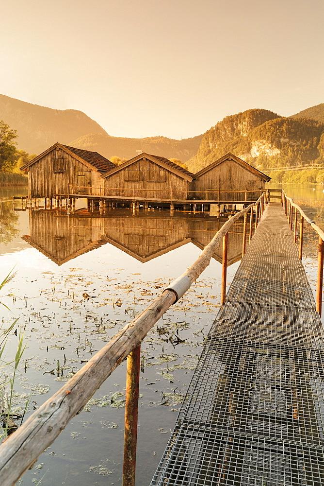 Boathouses at Kochelsee Lake at sunrise, Upper Bavaria, Bavaria, Germany - 1160-3925
