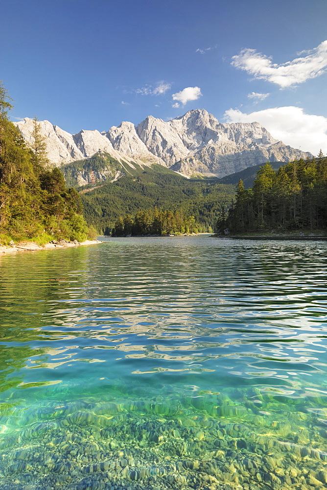 Eibsee Lake and Zugspitze Mountain, near Grainau, Werdenfelser Land range, Upper Bavaria, Bavaria, Germany - 1160-3941