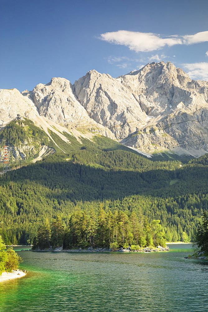 Eibsee Lake and Zugspitze Mountain, near Grainau, Werdenfelser Land range, Upper Bavaria, Bavaria, Germany - 1160-3942