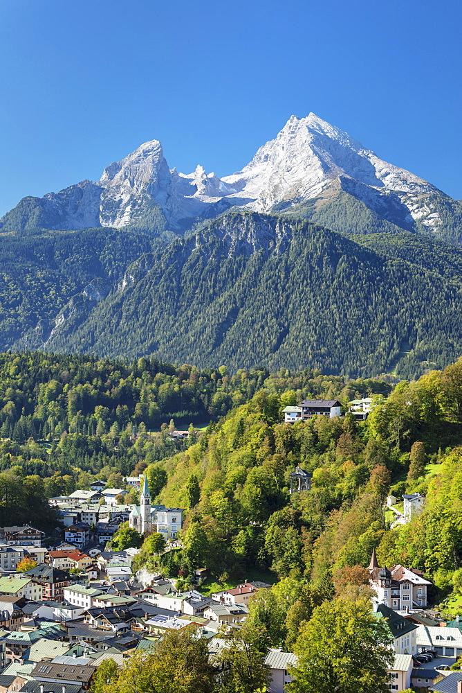 View over Berchtesgaden to Watzmann Mountain, Berchtesgaden, Upper Bavaria, Bavaria, Germany - 1160-3974