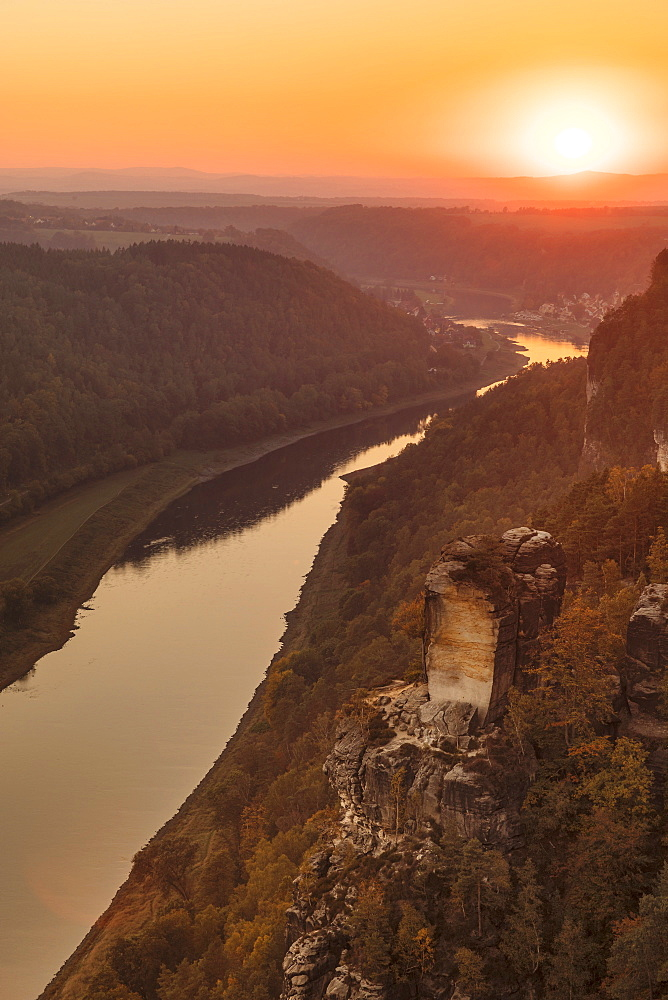 View from Bastei Rock Formation to Elbe River at sunset, Elbsandstein Mountains, Saxony Switzerland National Park, Saxony, Germany - 1160-4003