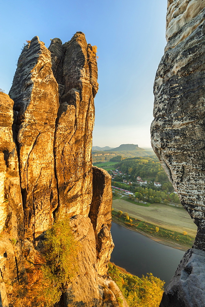 View from Bastei Rock Formation to Lilienstein Mountain, Elbsandstein Mountains, Saxony Switzerland National Park, Saxony, Germany