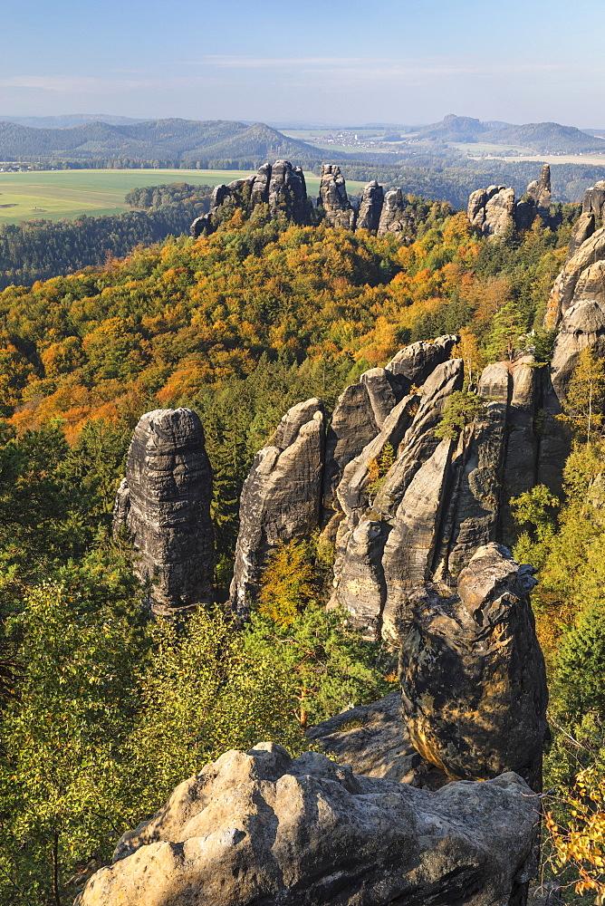 Schrammsteine Rocks, Elbsandstein Mountains, Saxony Switzerland National Park, Saxony, Germany - 1160-4025