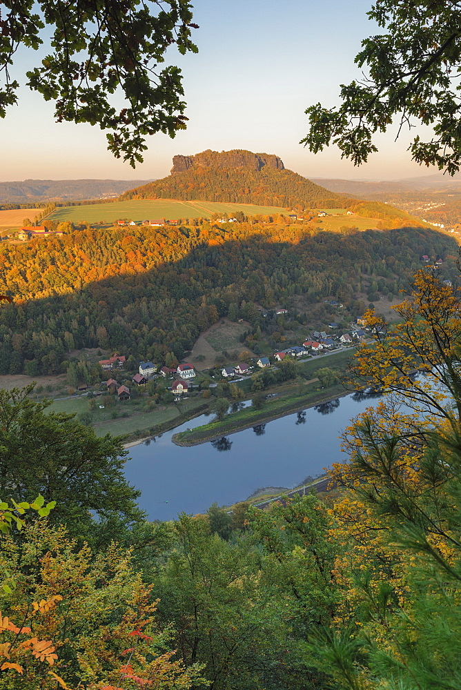 Lilienstein mountain during autumn in Germany, Europe