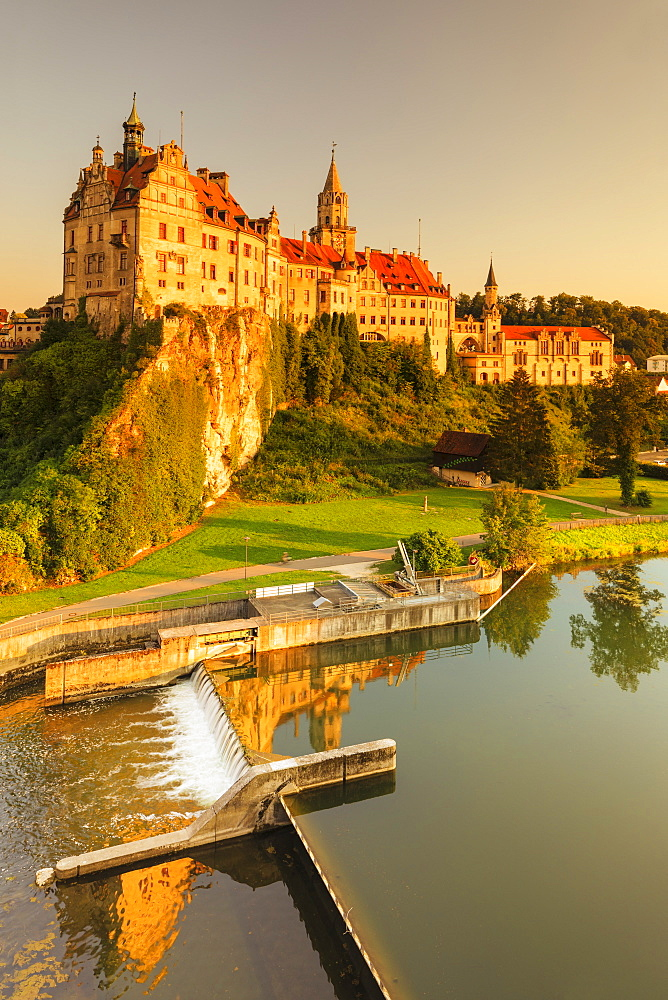 Sigmaringen Castle at sunset, Upper Danube Valley, Swabian Jura, Baden-Wuerttemberg, Germany