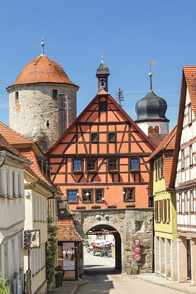 Town gate Langenburg, Hohenlohe, Baden-Wuerttemberg, Germany - 1160-4260